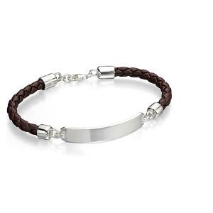 Armbånd Sølv-Læder Herre B4548