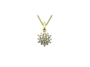 Vedhæng sølv forgyldt stella zirkonia med kæde 2040079