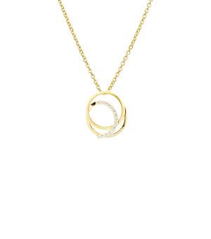 Vedhæng sølv forgyldt cirkler zirkonia med kæde 2041103