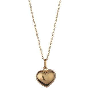Vedhæng hjerte sølv forgyldt blank m/kæde 204203